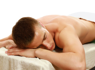 Young male enjoying massage
