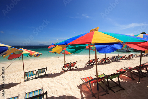 Beach Chair and Colorful Beach Umbrella