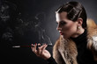 Woman with cigarette in vintage image