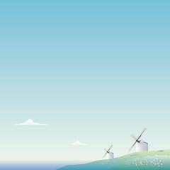 海を望む風車