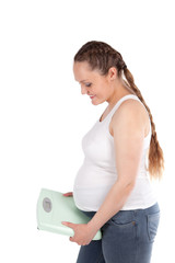 Pregnant woman, scales, isolation