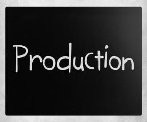 """Production"" handwritten with white chalk on a blackboard"