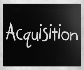 "The word ""Acquisition"" handwritten with white chalk on a blackbo"
