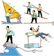 4 businessmen making sport - funny illustrations