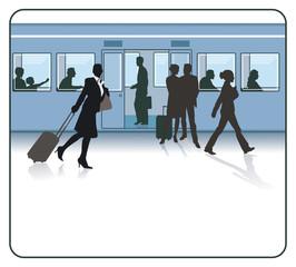 Reisende auf dem Bahnhof