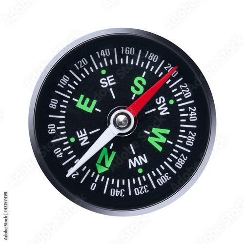 Leinwanddruck Bild compass on white background