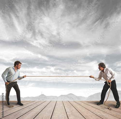 Businessman and  rope challenge