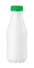 bottle of kefir or milk on a white background