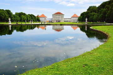 Picturesque nature landscape with Nymphenburg Palace, Munich