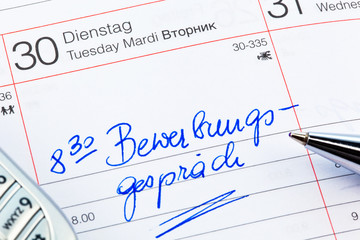 Eintrag im Kalender: Bewerbungsgespräch