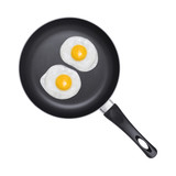 Fried eggs. Pan with handle on white background