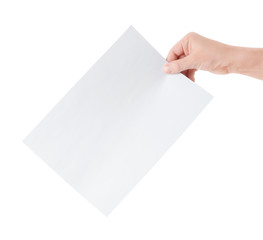 blank paper sheet in hand