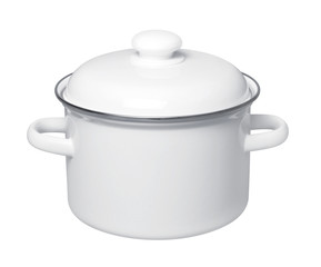 Enameled Saucepan on white background