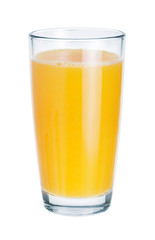 Fresh juice in glass on white background. The symbol of a health
