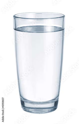 Glass with water on white background