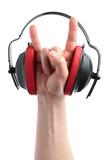 headphones and hand