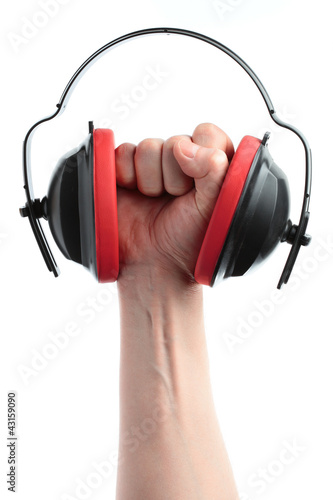 headphones and hand