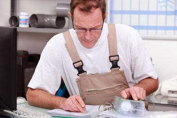 craftsman checking piece