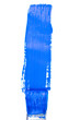Blue vertical line of painting against a white background