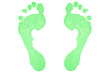Two green footprints
