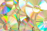 Compact discs piled up