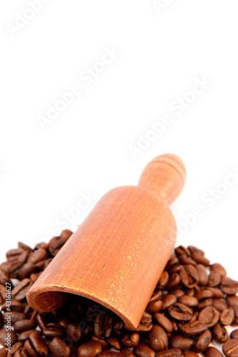 Wooden shovel put on beans coffee