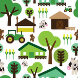 Seamless kids farm background pattern
