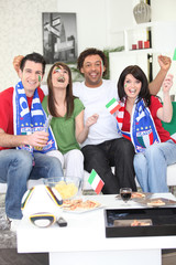 Italian football fans celebrating