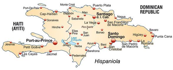 Inselkarte von Haiti und Dom. Rep.