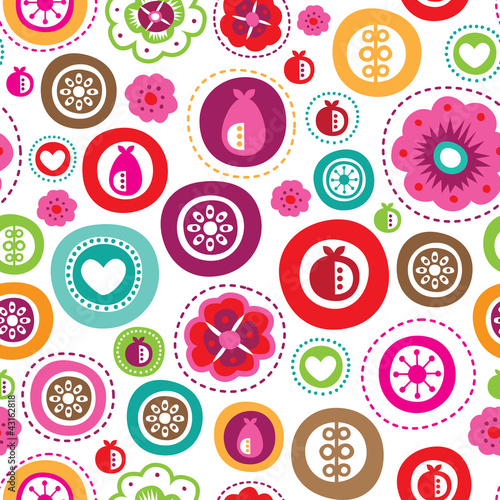 Sticker Seamless kids retro background pattern in vector