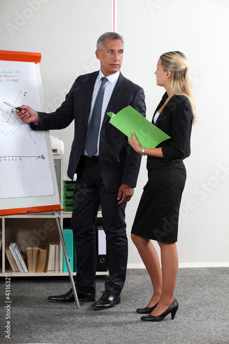 Business executives standing at a white board
