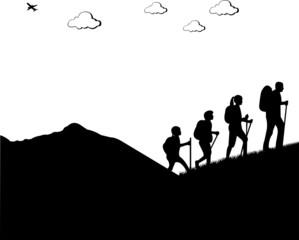 Mountain climbing, hiking family with rucksacks silhouette