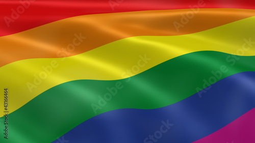 Gay pride flag in the wind
