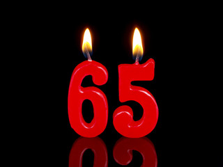 Birthday-anniversary candles showing Nr. 65