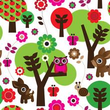 Seamless farm owl tree animal pattern in vector