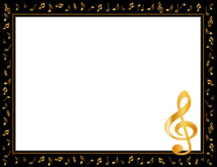 Music Poster, gold notes, copy space for concerts, performances