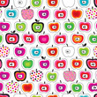 Seamless Cute Retro Apple Patt...