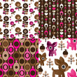 Seamless retro reindeer flower pattern background in vector