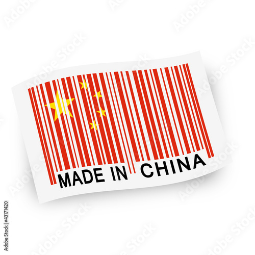 Fahne mit Strichcode -  MADE IN CHINA
