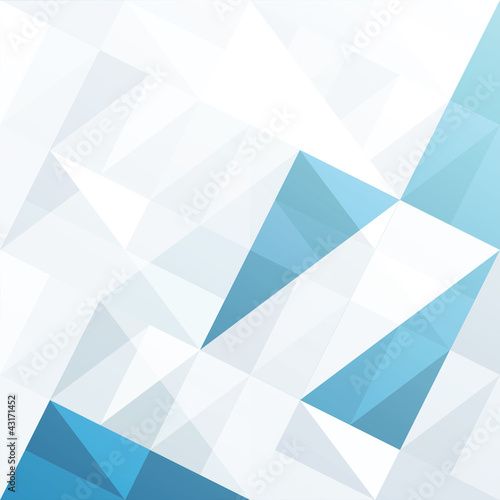 Poster Abstract geometrical background with blue triangles and space fo