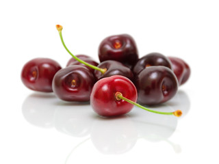 ripe cherry closeup on white background