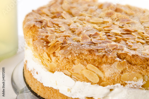flat cake with an almond and sugar coating