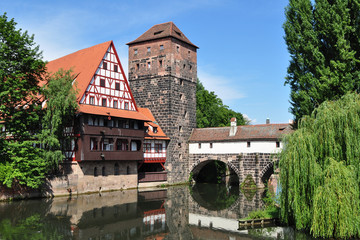 Famous Executioner's bridge in Nurnberg, Germany