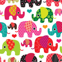 Seamless elephant kids pattern background in vector © designalicious