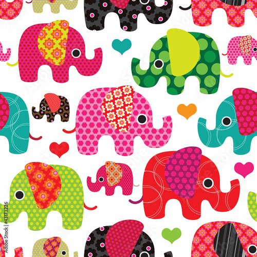 Sticker Seamless elephant kids pattern background in vector