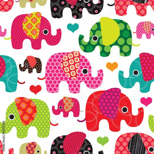 Bez szwu słonie dzieci w tle wzór tła