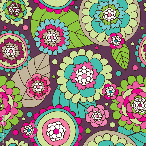 Seamless summer doodle flowers background pattern in vector