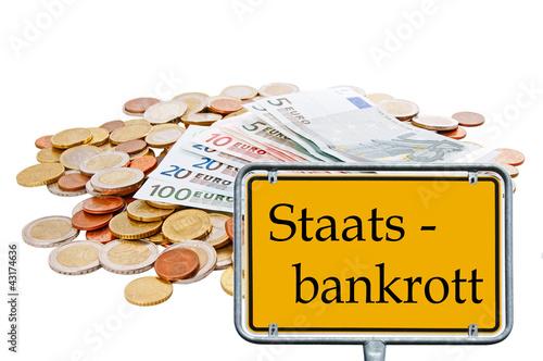 Geld und Schild - Staatsbankrott