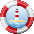 Button lighthouse in lifebelt