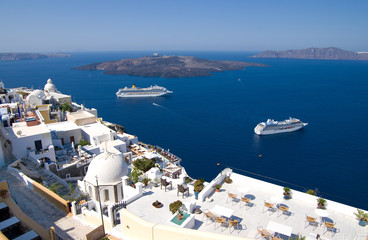 cruise liners moored in the caldera of santorini